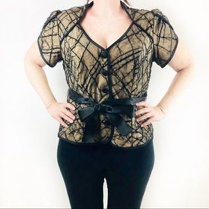 JS Collection black mesh over nude belted tie top